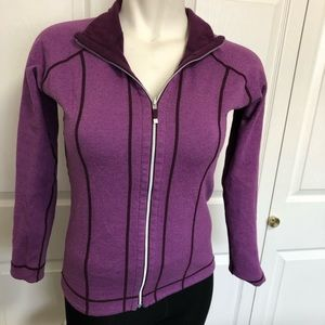 Gaiam reversible full zip striped/ burgundy jacket
